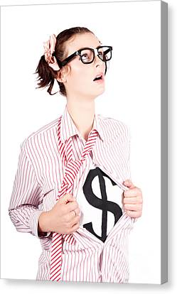Super Girl Canvas Print - Young Businesswoman Super Hero Showing Dollar Sign by Jorgo Photography - Wall Art Gallery
