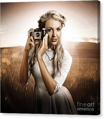 Young Female Photographer With Vintage Camera Canvas Print