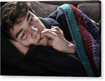 Young Man In Blanket Canvas Print by Mauro Fermariello