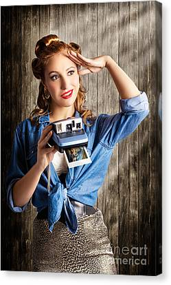 Young Retro Woman Holding Instant Camera Canvas Print