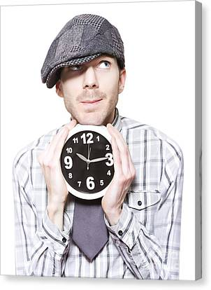 Young School Boy Watching Time While Holding Clock Canvas Print by Jorgo Photography - Wall Art Gallery