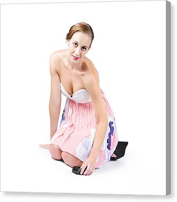 Young Woman Cleaning Floor Canvas Print