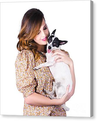 Fox Terrier Canvas Print - Young Woman Holding Dog by Jorgo Photography - Wall Art Gallery
