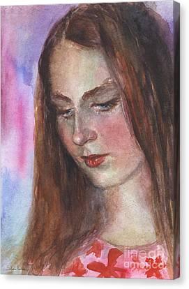 Young Woman Watercolor Portrait Painting Canvas Print by Svetlana Novikova