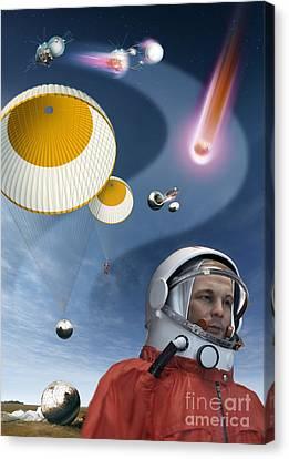 Yuri Gagarins Landing, Artwork Canvas Print by Detlev van Ravenswaay