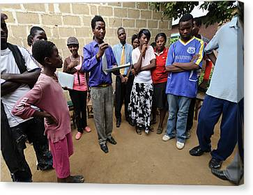 Troupe Canvas Print - Zambian Theatre Group Meeting by Matthew Oldfield