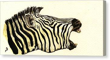 Zebra Head Study Canvas Print by Juan  Bosco