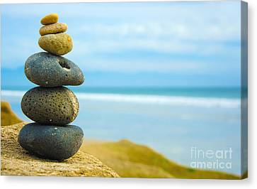 Zen Stone Stacked Together Canvas Print by Aged Pixel