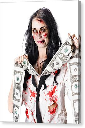 Zombie Banker With Forged American Dollars Canvas Print by Jorgo Photography - Wall Art Gallery