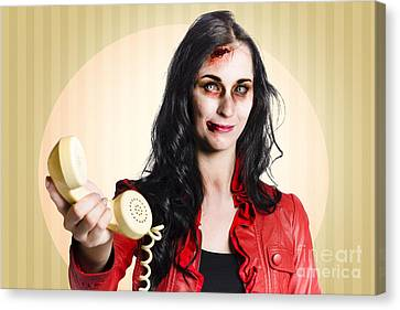 Zombie Business Person Handing Over Bad News Phone Canvas Print