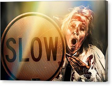 Zombie Business Person Holding Slow Sign  Canvas Print by Jorgo Photography - Wall Art Gallery