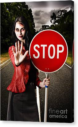 Zombie Girl Holding Stop Sign At Dead End Canvas Print