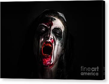 Zombie Girl Screaming Out In The Darkness Canvas Print by Jorgo Photography - Wall Art Gallery