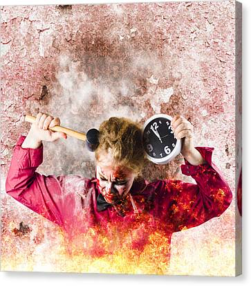 Zombie In Fire Holding Clock. Out Of Time Canvas Print