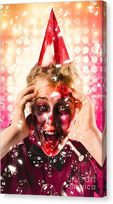 Zombie In Party Hat. Halloween Party Celebration Canvas Print