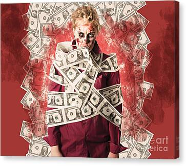 Zombie Tied Up In Financial Debt. Dead Money Canvas Print by Jorgo Photography - Wall Art Gallery