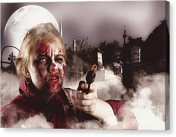 Zombie With Gun In Graveyard. Full Moon Nightmare Canvas Print by Jorgo Photography - Wall Art Gallery