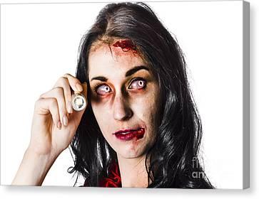 Zombie Woman Holding Flashlight On White Canvas Print