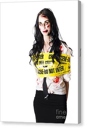 Zombie Woman Taped Up Canvas Print