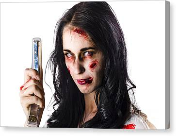 Zombie Woman With Stapler Canvas Print