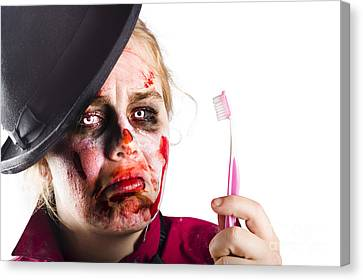 Zombie Woman With Toothbrush Canvas Print