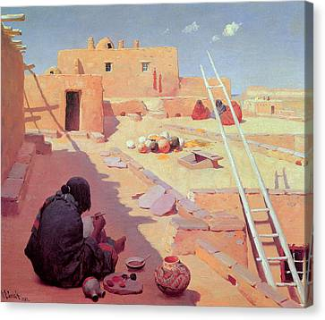 Zuni Pottery Maker Canvas Print by William Robinson Leigh