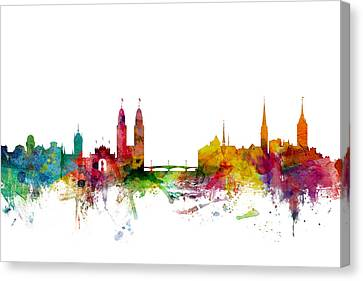Zurich Switzerland Skyline Canvas Print by Michael Tompsett