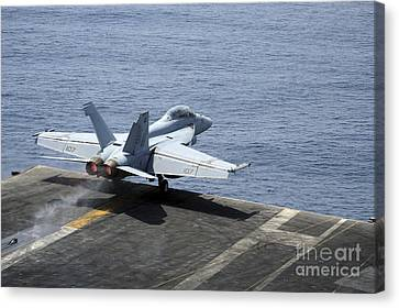 An Fa-18f Super Hornet Launches Canvas Print by Stocktrek Images