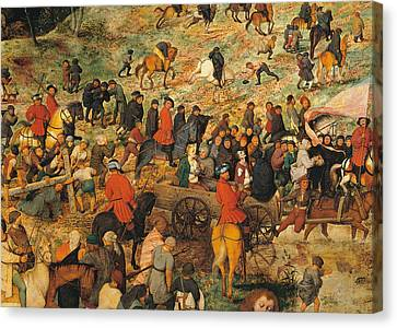 Ascent To Calvary, By Pieter Bruegel Canvas Print by Pieter the Elder Bruegel
