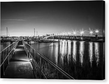 Bridge Of Lions St Augustine Florida Painted Bw Canvas Print