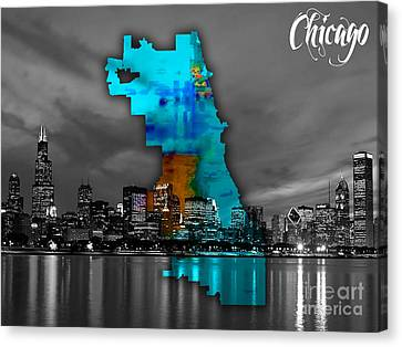 Chicago Map And Skyline Watercolor Canvas Print