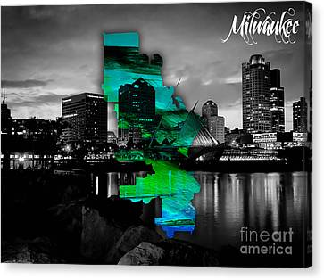 Milwaukee Map And Skyline Watercolor Canvas Print by Marvin Blaine