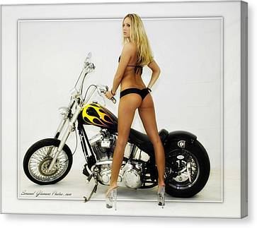 Models And Motorcycles Canvas Print by Walter Herrit