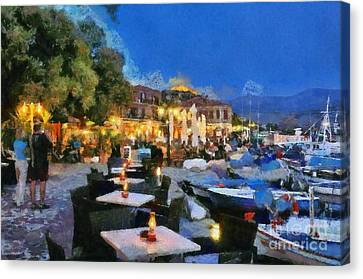 Molyvos Town In Lesvos Island Canvas Print