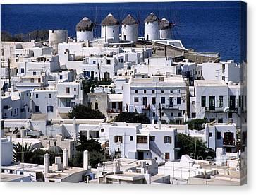 Windmills Canvas Print - Mykonos Town by George Atsametakis