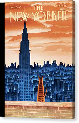 City Scenes Canvas Print - New Yorker January 12th, 2009 by Mark Ulriksen