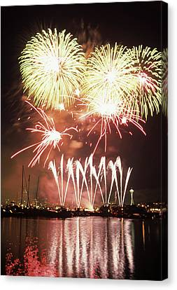 Wa, Seattle, Fireworks On July 4th Canvas Print