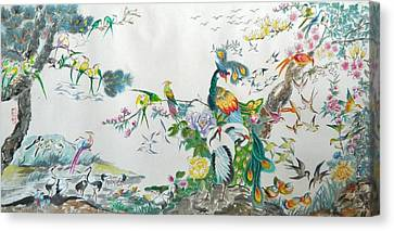Brushed Canvas Print - 100 Birds by Min Wang
