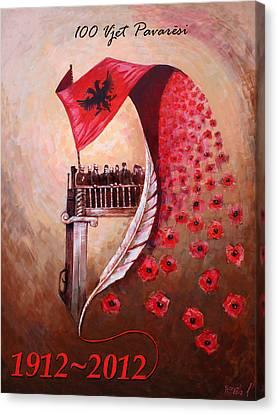 100 Vjetori I Pavaresis Se Shqiperise  Canvas Print by Ylli Haruni