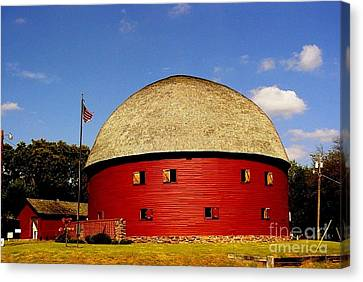 Canvas Print featuring the photograph 100 Year Old Round Red Barn  by Janette Boyd