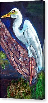 1004397egret Canvas Print by Garland Oldham