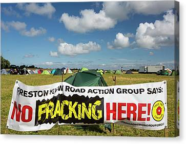 A Protest Banner Against Fracking Canvas Print by Ashley Cooper