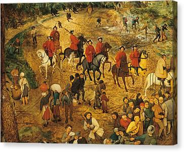 Ascent To Calvary, By Pieter Bruegel Canvas Print by Pieter the Elder Bruegel