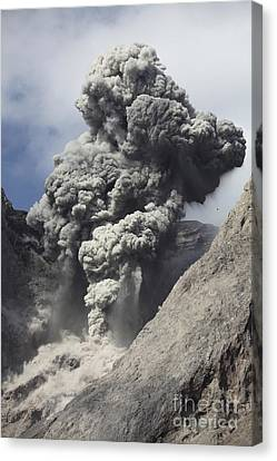 Ash Cloud Rises From Crater Of Batu Canvas Print by Richard Roscoe