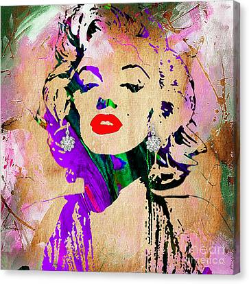 Portraits Canvas Print - Marilyn Monroe Diamond Earring Collection by Marvin Blaine