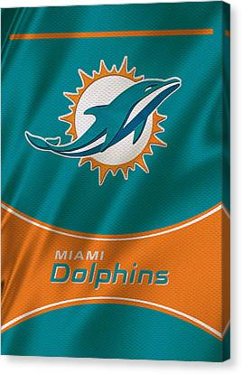 Miami Dolphins Uniform Canvas Print by Joe Hamilton