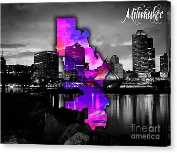 Milwaukee Canvas Print - Milwaukee Map And Skyline Watercolor by Marvin Blaine