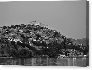 Molyvos Village During Dusk Time Canvas Print by George Atsametakis