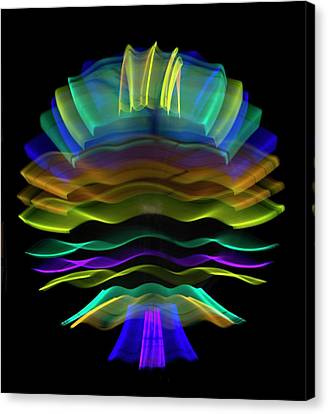 Wavy Canvas Print - Multicoloured Light Trails by Lawrence Lawry