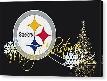 Christmas Greeting Canvas Print - Pittsburgh Steelers by Joe Hamilton